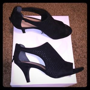 Black open toe small heel